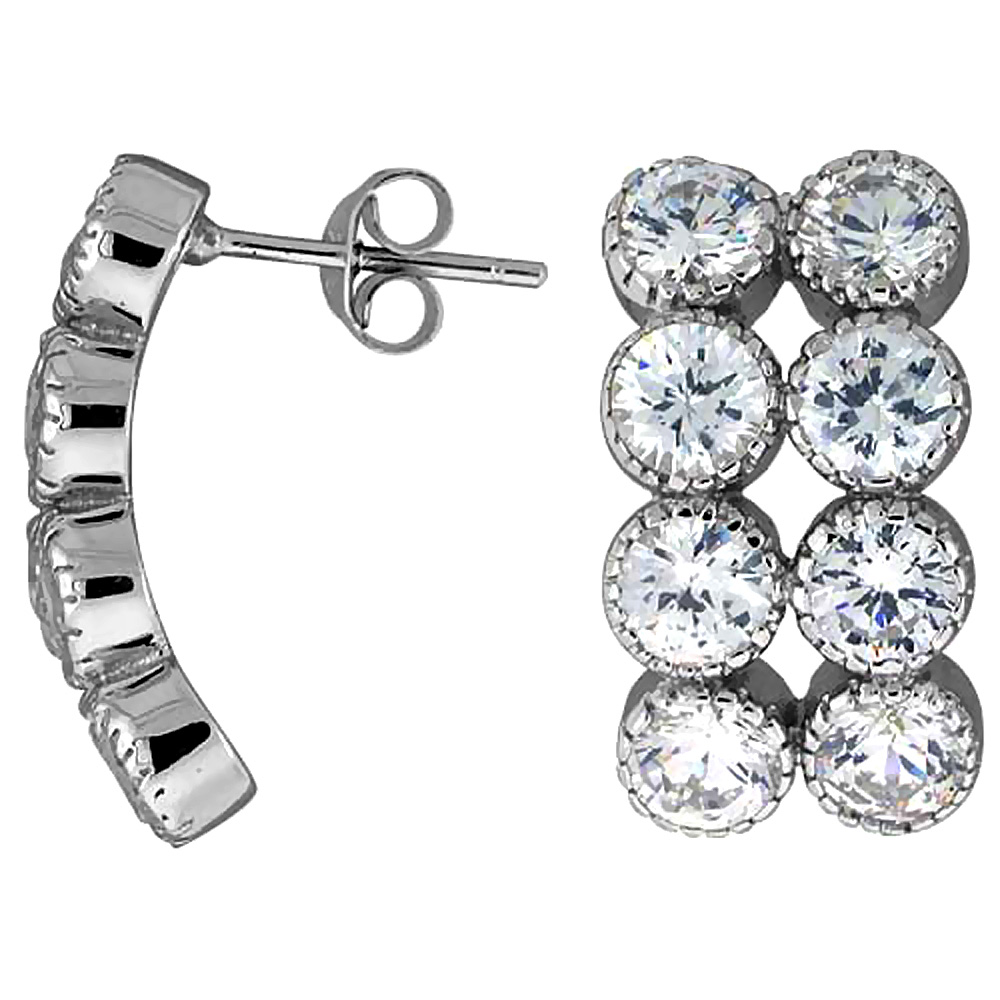 Sterling Silver Cubic Zirconia Post Earrings 8 CZ stones 1/2 CT ea Rhodium finish 13/16 inch