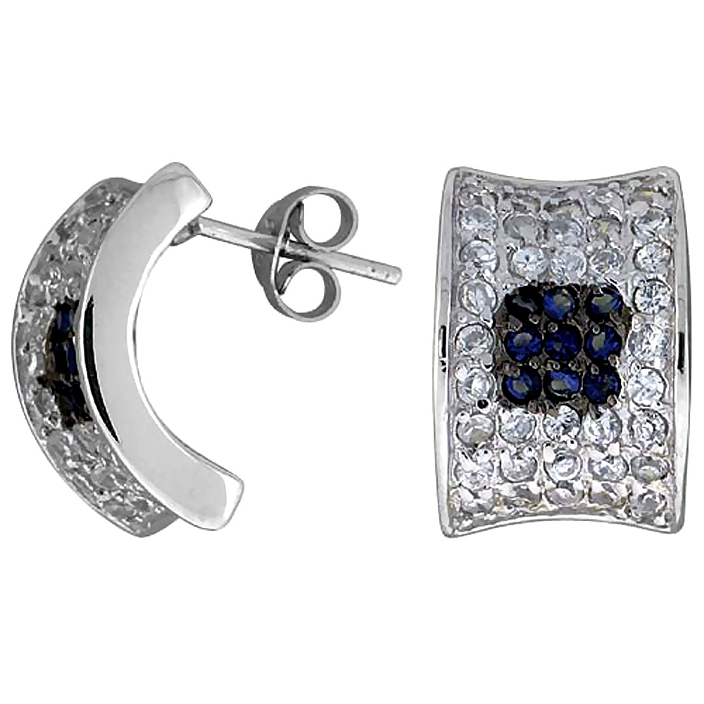 Sterling Silver Cubic Zirconia Curved Post Earrings Blue & White CZ Stones Rhodium finish 5/8 inch