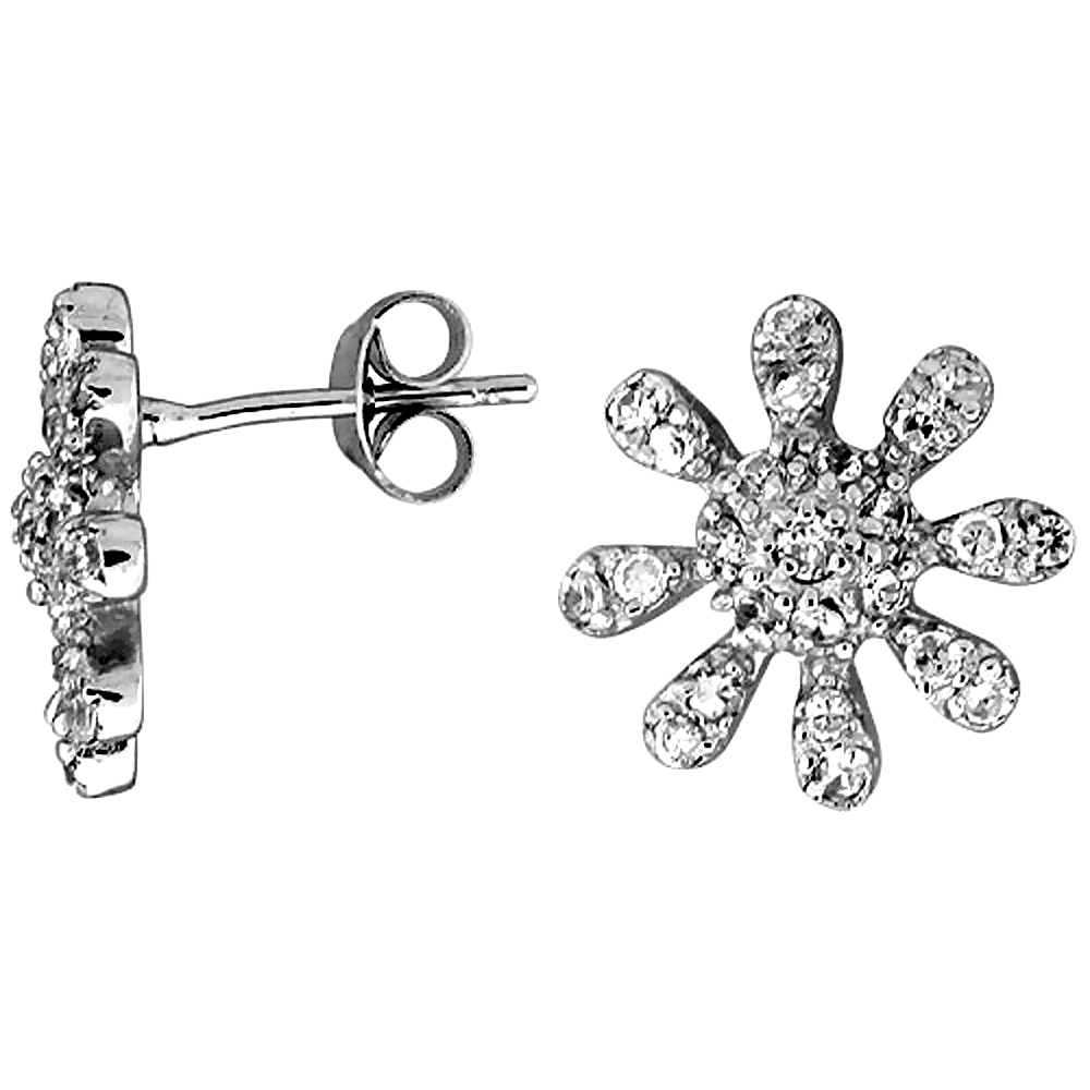 Sterling Silver Cubic Zirconia Sunflower Button Earrings White CZ Stones Rhodium finish 1/2 inch