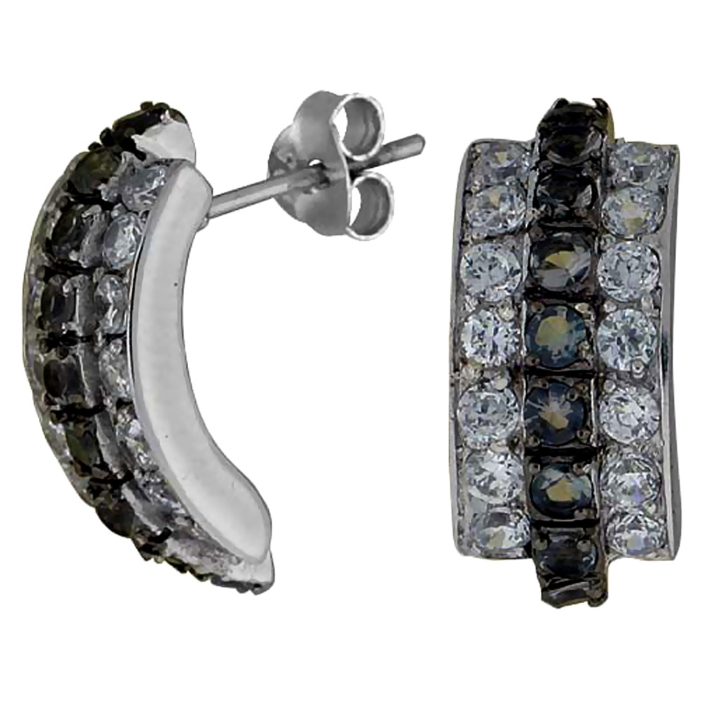 Sterling Silver Cubic Zirconia Curved Post Earrings Black & White CZ Stones Rhodium finish 3/4 inch