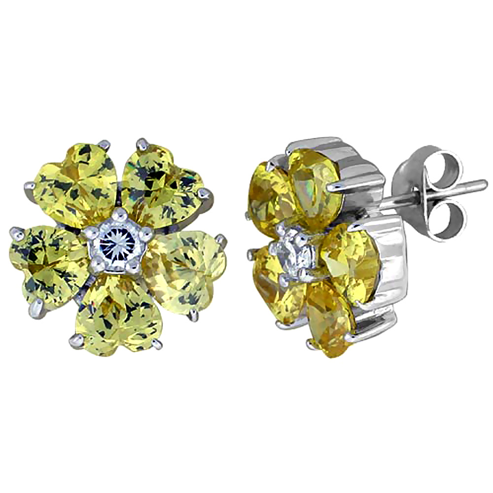 Sterling Silver Cubic Zirconia Flower Stud Earrings Yellow Topaz Heart CZ Stones Rhodium finish, 1/2 inch