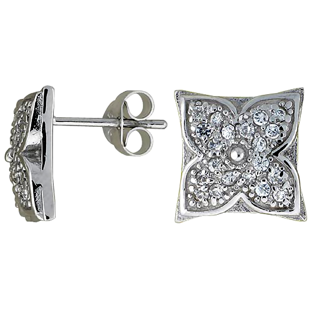 Sterling Silver Cubic Zirconia Square Button Earrings CZ Stones Rhodium finish 7/16 inch