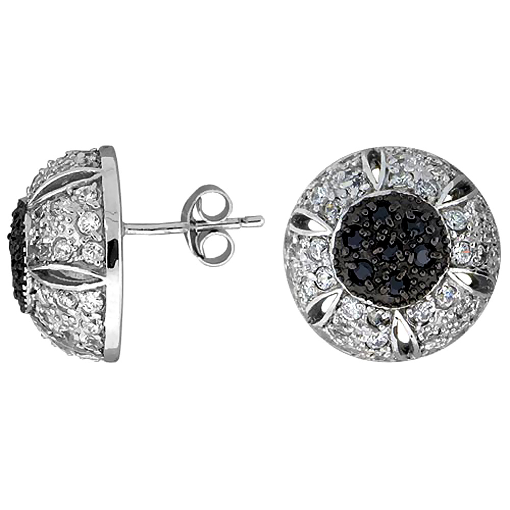 Sterling Silver Cubic Zirconia Button Earrings Half-ball Black & White CZ Stones Rhodium finish 5/8 inch