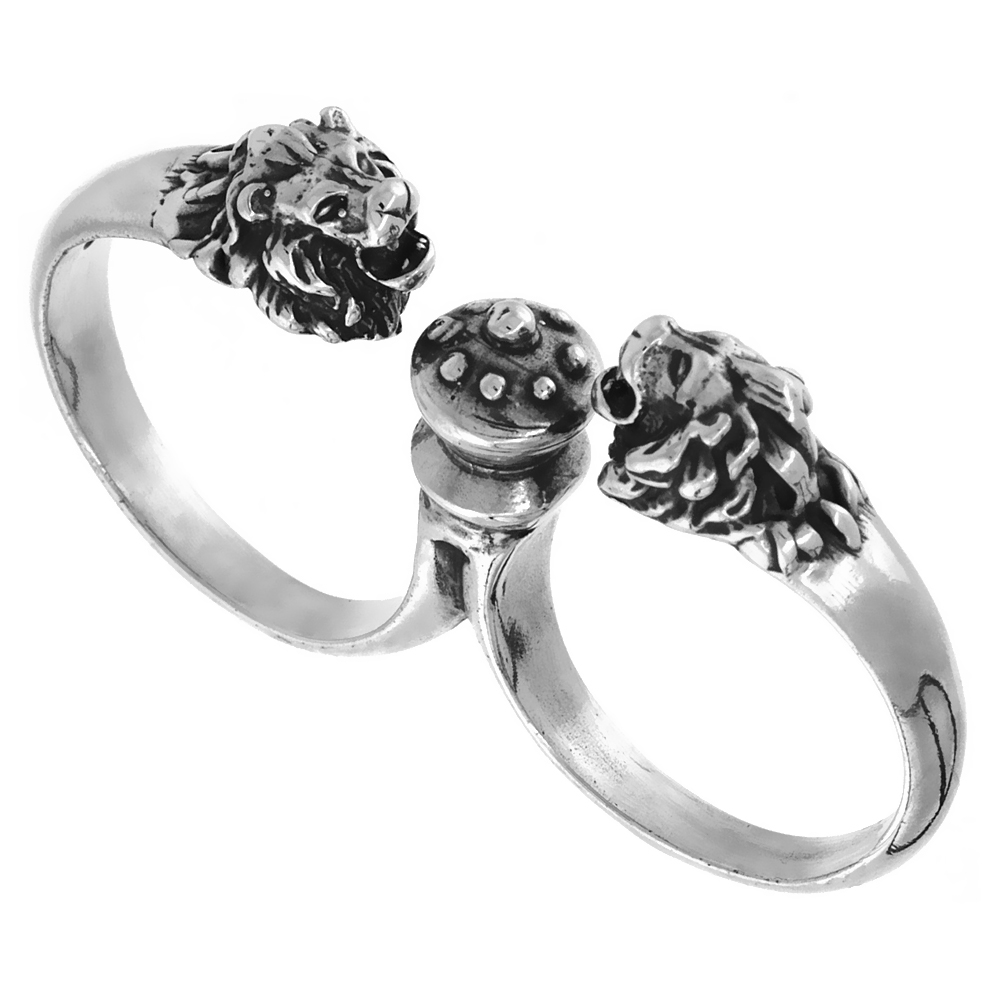 Sterling Silver Two Finger Lion Head Ring, 1/4 inch wide