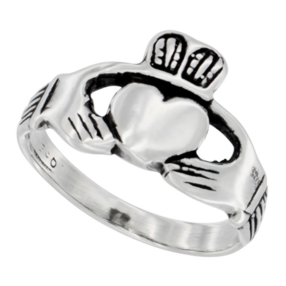 Sterling Silver Claddagh Ring for him & her Antiqued finish 3/8 inch wide, sizes 5.5 - 10,
