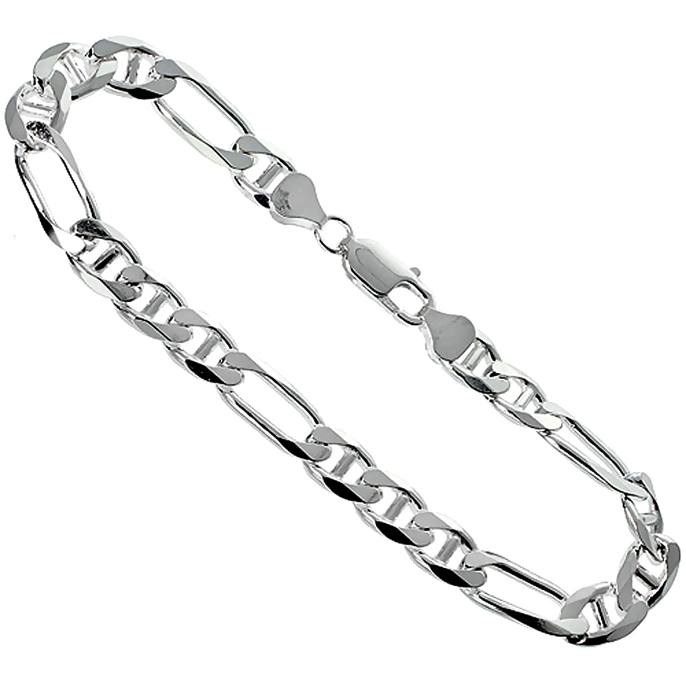 Sterling Silver Figarucci Link Chain Necklaces & Bracelets 8mm Nickel Free Italy, sizes 7 - 30 inch