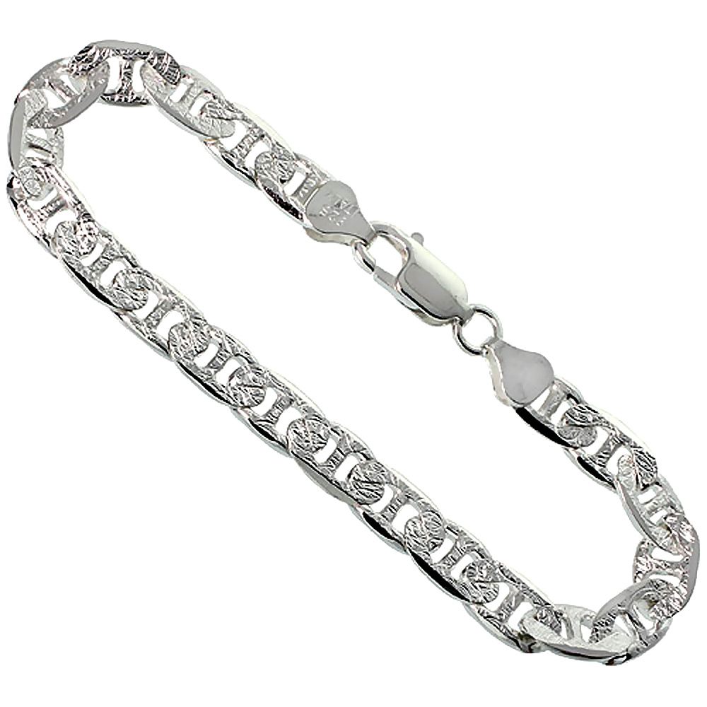 Sterling Silver Flat Mariner Link Chain Necklace 8mm Diamond Cut Nickel Free Italy, 7-30 inch