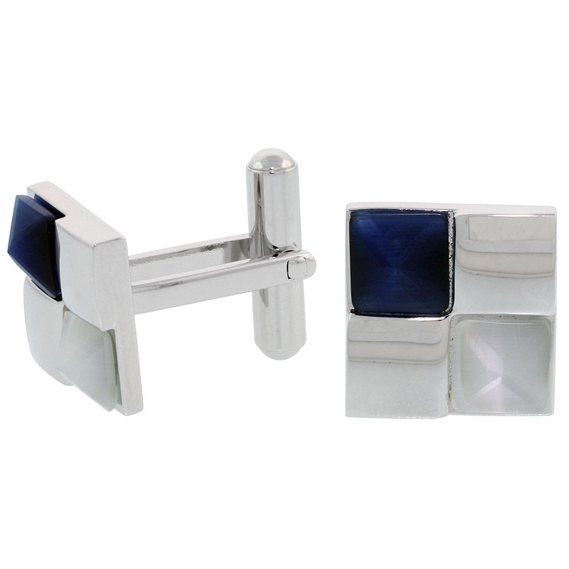 Stainless Steel Checkerboard Cufflinks, w/ Blue & White Pyramid Stones, 1/2 inch (14 mm)