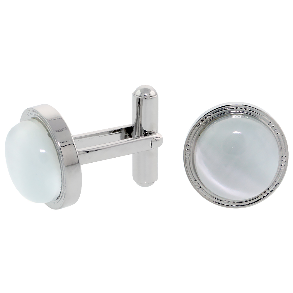 Stainless Steel Cufflinks with Cabochon Moonstone, 5/8 inch