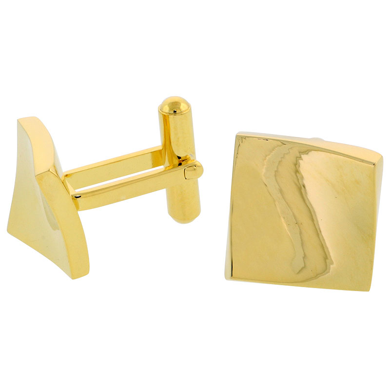 Stainless Steel Square Gold Plated Cufflinks with Flared Corners, 5/8 inch (15 mm)