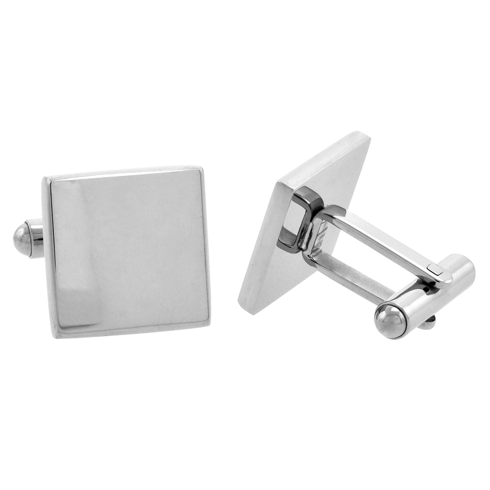 Stainless Steel Plain Square Cufflinks with Beveled Edges High Polished 5/8 x 5/8 in.