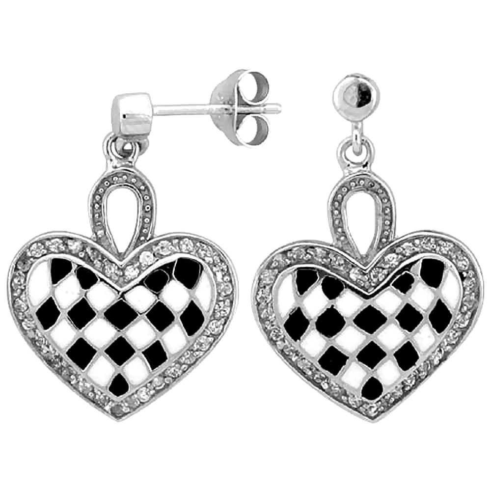 Sterling Silver Heart Dangle Earrings Black & White Enamel Checkered pattern, 7/8 inch