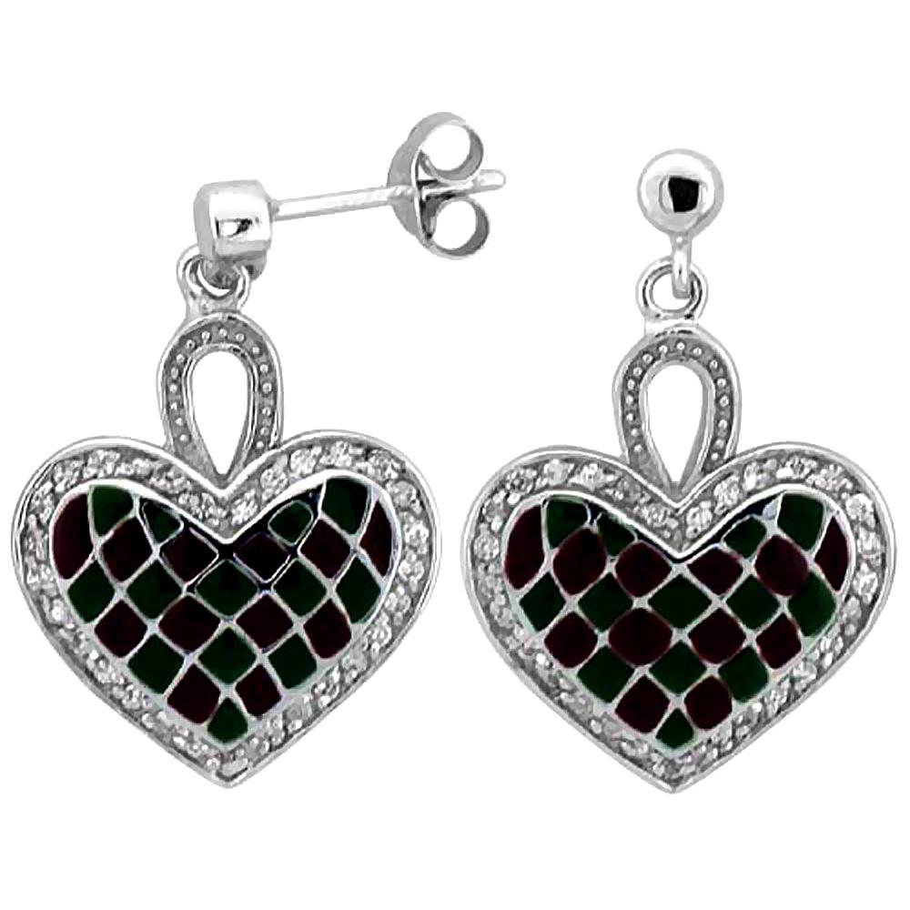 Sterling Silver Heart Dangle Earrings Green & Red Enamel Checkered pattern, 7/8 inch