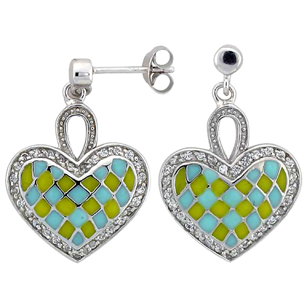 Sterling Silver Heart Dangle Earrings Yellow & Blue Enamel Checkered pattern, 7/8 inch