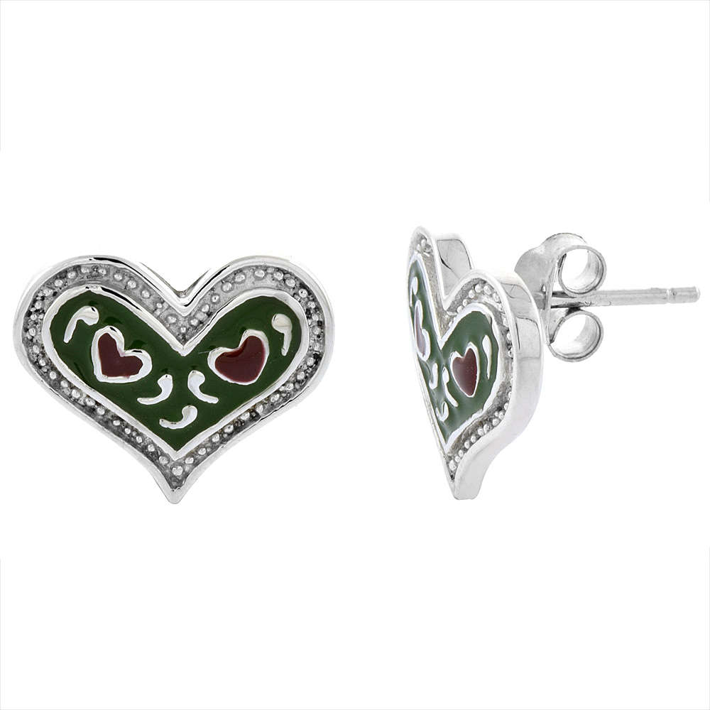 Sterling Silver Heart Post Earrings Green & Red Enamel Rhodium finish 11/16 inch