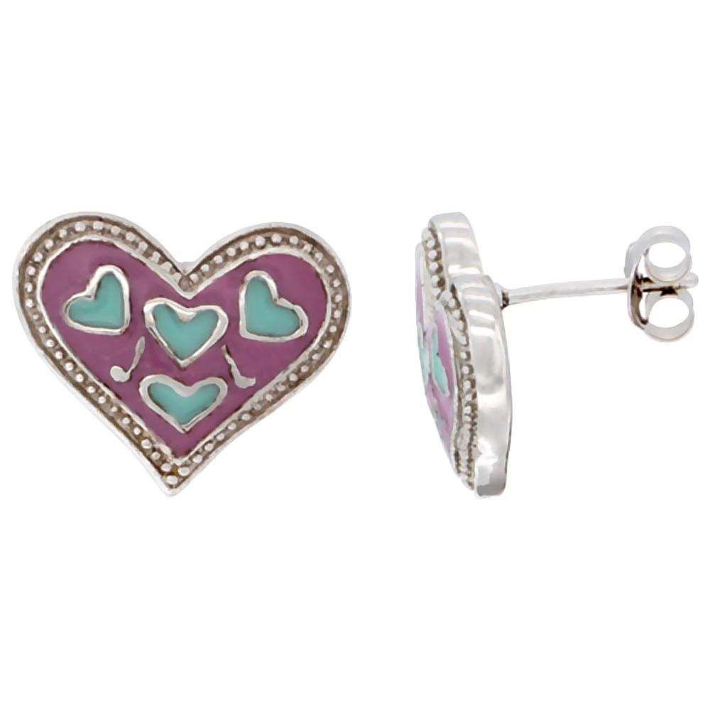 Sterling Silver Heart Post Earrings Pink & Turquoise Enamel Rhodium finish 11/16 inch
