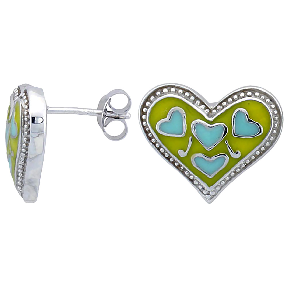 Sterling Silver Heart Post Earrings Blue & Yellow Enamel Rhodium finish 11/16 inch