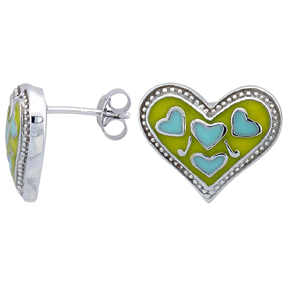 Sterling Silver Heart Post Earrings Blue & Yellow Enamel Rhodium finish 11/16 inch