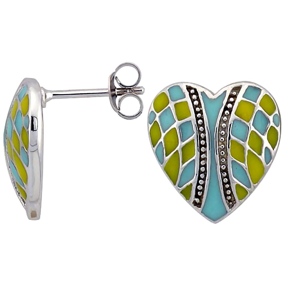 Sterling Silver Heart Post Earrings Blue & Yellow Enamel Checkered pattern Rhodium finish, 1/2 inch