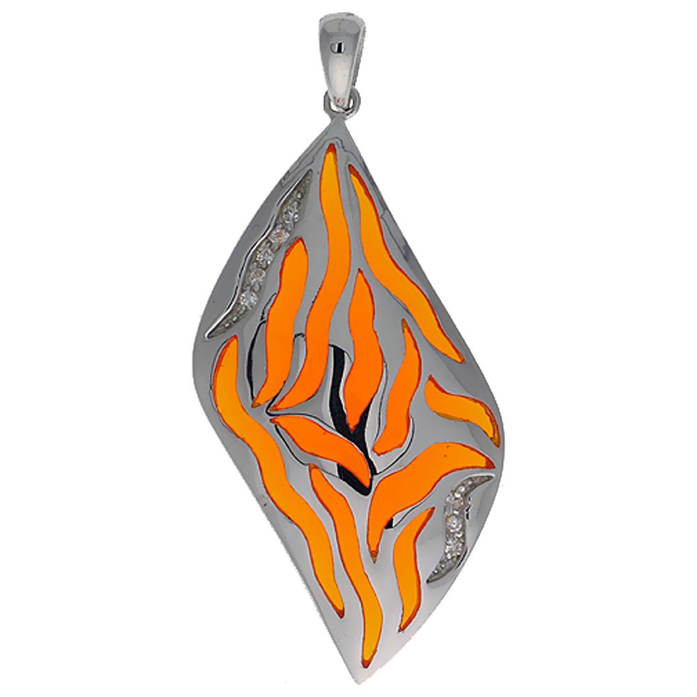 Sterling Silver Orange Stripes Resin Pendant, 1 11/16 inch long