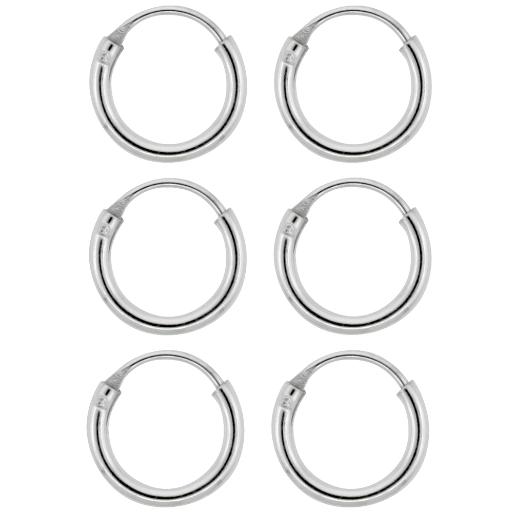 3 Pairs Sterling Silver Teeny Endless Hoop Earrings for Cartilage Nose and Lips 5/16 inch 8mm