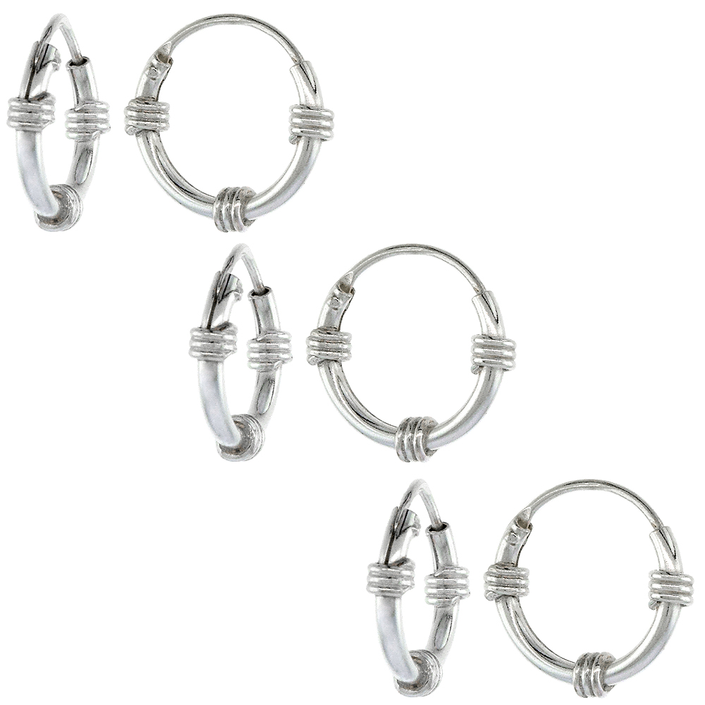 3 Pairs Sterling Silver Bali Style Endless Hoop Earrings for ears Nose and lips 1/2 inch 12mm