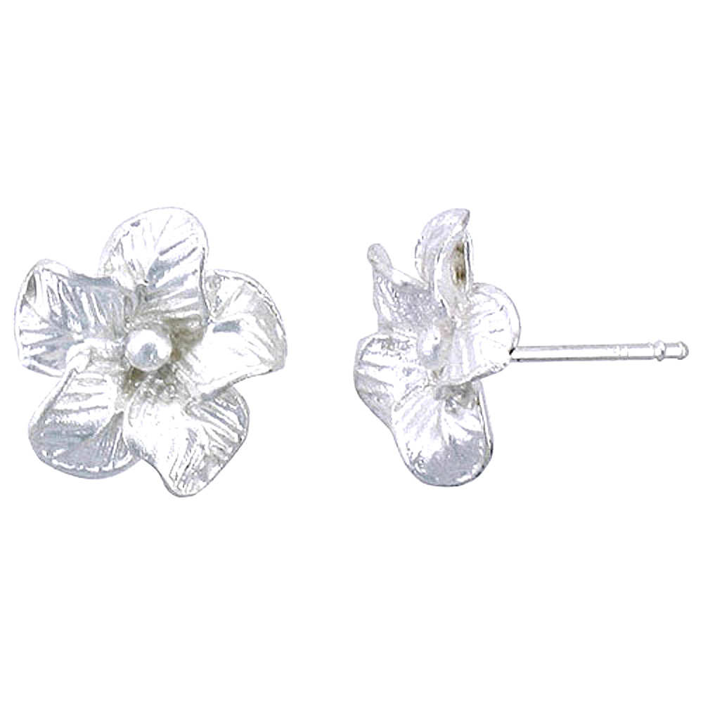 Sterling Silver Hawaiian Flower Post Earrings, 1/2 inch wide