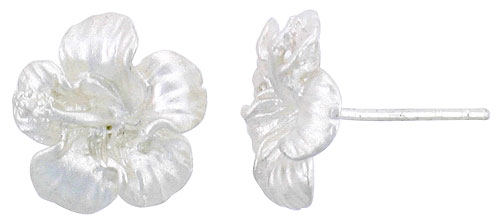 Sterling Silver Hawaiian Hibiscus Post Earrings, 1/2 inch wide