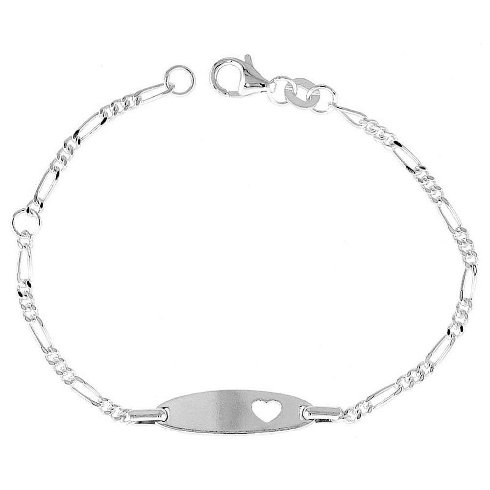 Sterling Silver Baby ID Bracelet Figaro link Rhodium fits baby sizes 5 - 6 inch long