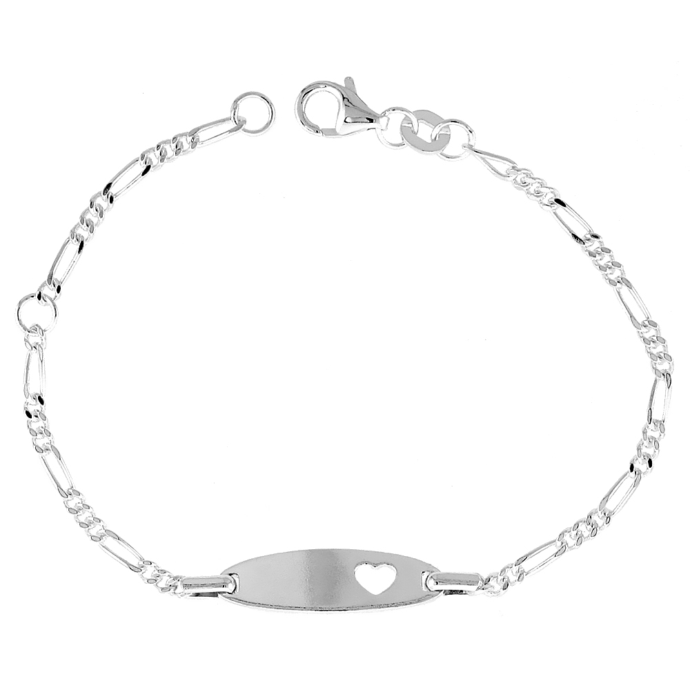 Sterling Silver Childrens ID Bracelet Figaro link with Heart Cut-Out fits baby sizes 5 - 6 inch long