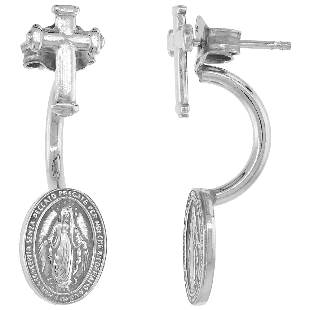 Sterling Silver Miraculous Medal Ear Jacket Earrings with Cross Rhodium Finish Italy 1 inch