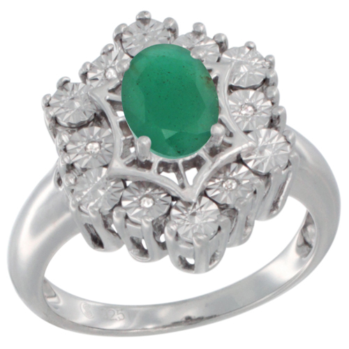 Sterling Silver Natural Emerald Ring 7x5 Oval Illusion Diamonds Rhodium finish, sizes 5 - 10