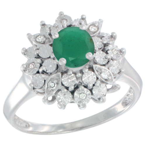 Sterling Silver Natural Emerald Ring Oval 6x4, Diamond Accent, sizes 5 - 10