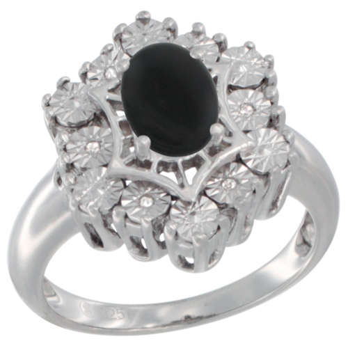 Sterling Silver Natural Black Onyx Ring 7x5 Oval Illusion Diamonds Rhodium finish, sizes 5 - 10