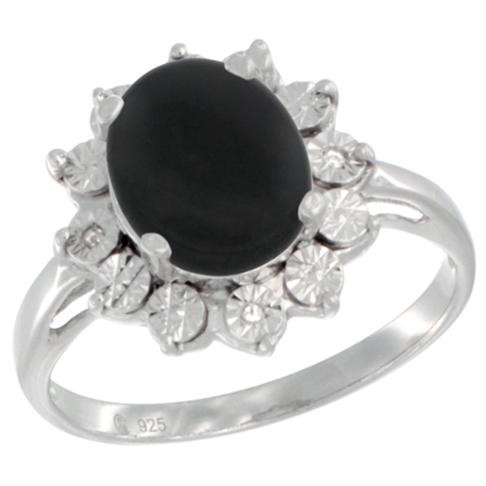 Sterling Silver Natural Black Onyx Ring Oval 10x8, Diamond Accent, sizes 5 - 10