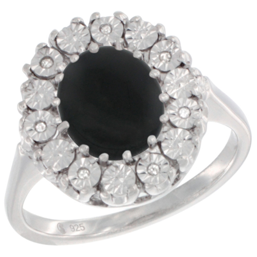 Sterling Silver Natural Black Onyx Ring Oval 9x7, Diamond Accent, sizes 5 - 10