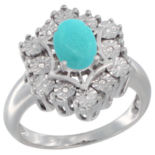 Sterling Silver Natural Turquoise Ring 7x5 Oval Illusion Diamonds Rhodium finish, sizes 5 - 10