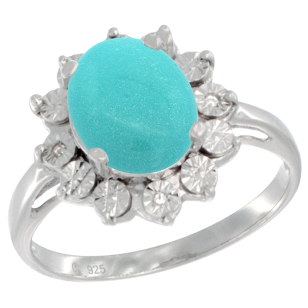 Sterling Silver Natural Sleeping Beauty Turquoise Ring Oval 10x8, Diamond Accent, sizes 5 - 10