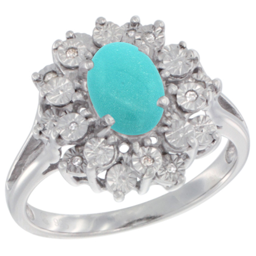 Sterling Silver Natural Sleeping BeautyTurquoise Ring Oval 8x6, Diamond Accent, sizes 5 - 10