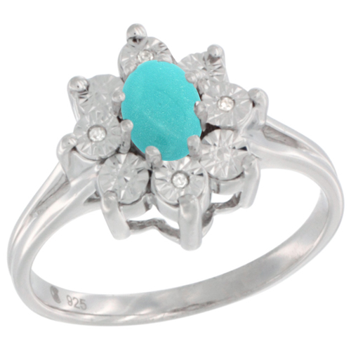 Sterling Silver Natural Sleeping BeautyTurquoise Ring Oval 6x4, Diamond Accent, sizes 5 - 10