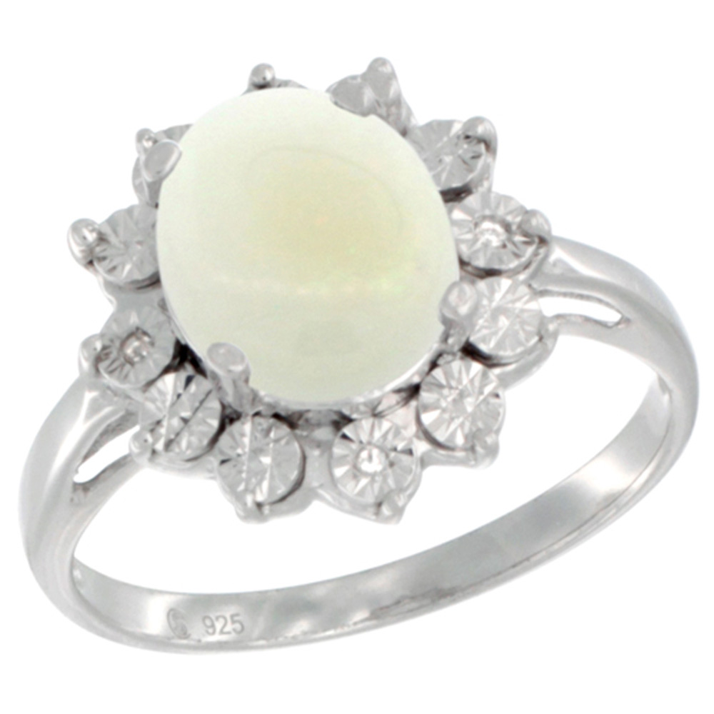 Sterling Silver Natural Opal Ring Oval 10x8, Diamond Accent, sizes 5 - 10
