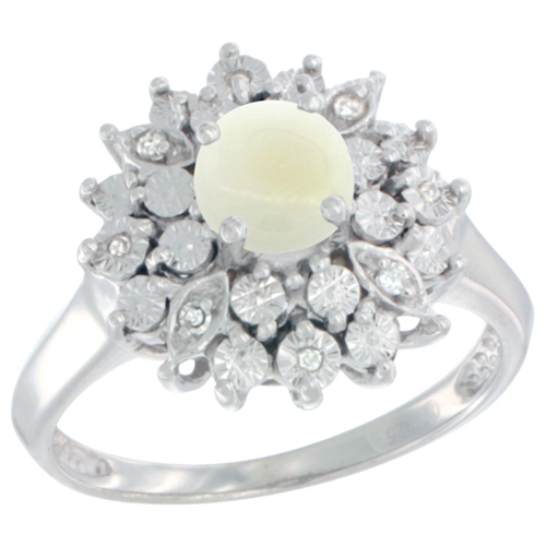 Sterling Silver Natural Opal Ring Oval 6x4, Diamond Accent, sizes 5 - 10