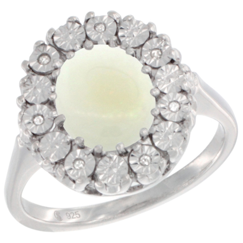 Sterling Silver Natural Opal Ring Oval 9x7, Diamond Accent, sizes 5 - 10