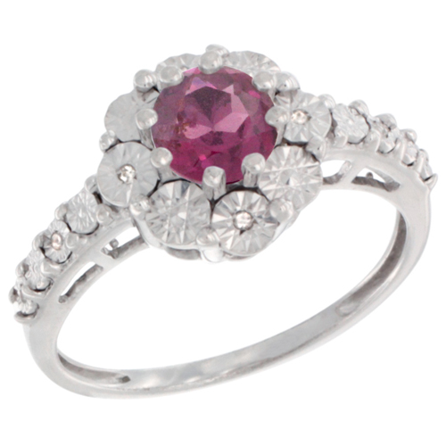 Sterling Silver Natural Rhodolite Ring Round 5x5, Diamond Accent, sizes 5 - 10