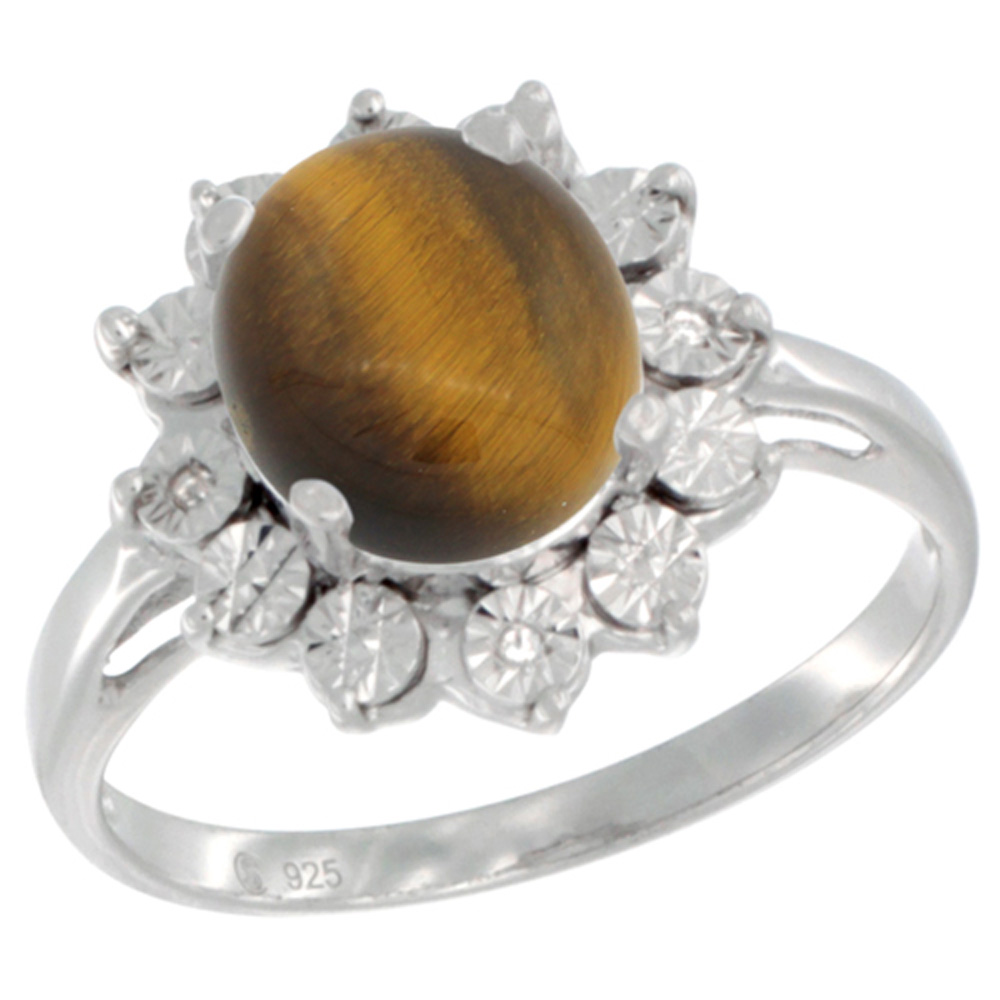 Sterling Silver Natural Tiger Eye Ring Oval 10x8, Diamond Accent, sizes 5 - 10
