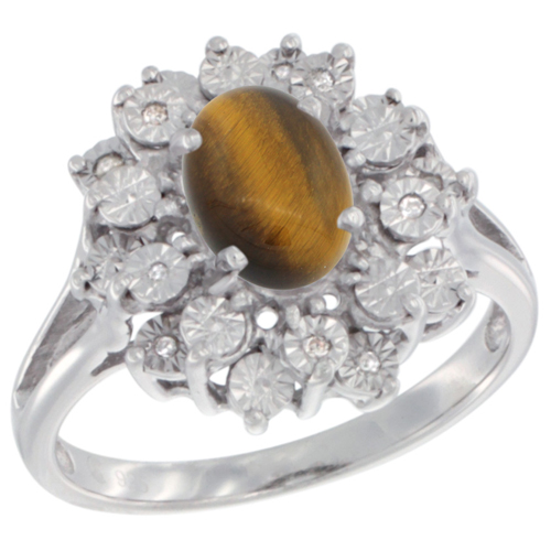 Sterling Silver Natural Tiger Eye Ring Oval 8x6, Diamond Accent, sizes 5 - 10