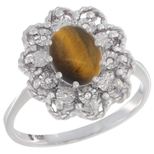 Sterling Silver Natural Tiger Eye Ring Oval 8x6, Diamond Accent,, sizes 5 - 10