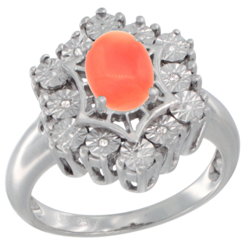 Sterling Silver Natural Coral Ring 7x5 Oval Illusion Diamonds Rhodium finish, sizes 5 - 10