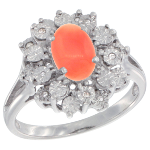 Sterling Silver Natural Coral Ring Oval 8x6, Diamond Accent, sizes 5 - 10