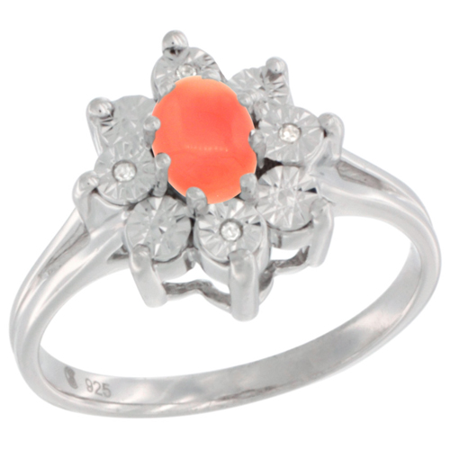 Sterling Silver Natural Coral Ring Oval 6x4, Diamond Accent, sizes 5 - 10